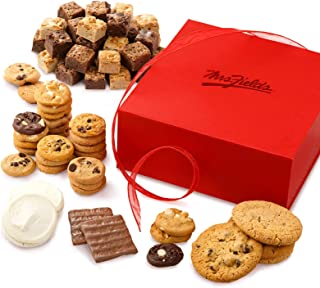 Mrs. Fields Cookies Crimson Treat Box (86 Count) Includes 42 Nibblers Bite-Sized Cookies, 36 Brownie Bites, 4 Original Cookies, 2 Frosted Cookies & 2 Chocolate-Covered Graham Crackers - Perfect Gift