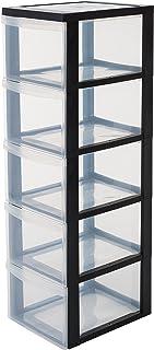 Iris Ohyama, armoire de rangement sur roulettes à 5 tiroirs - Design Chest - DC-305, plastique, noir/transparent, 75 L, 39...