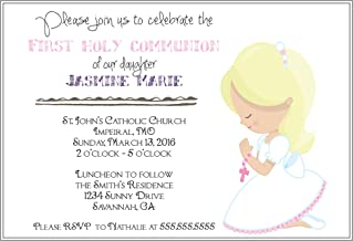 Customized Girls (blonde hair) First Communion Invitation