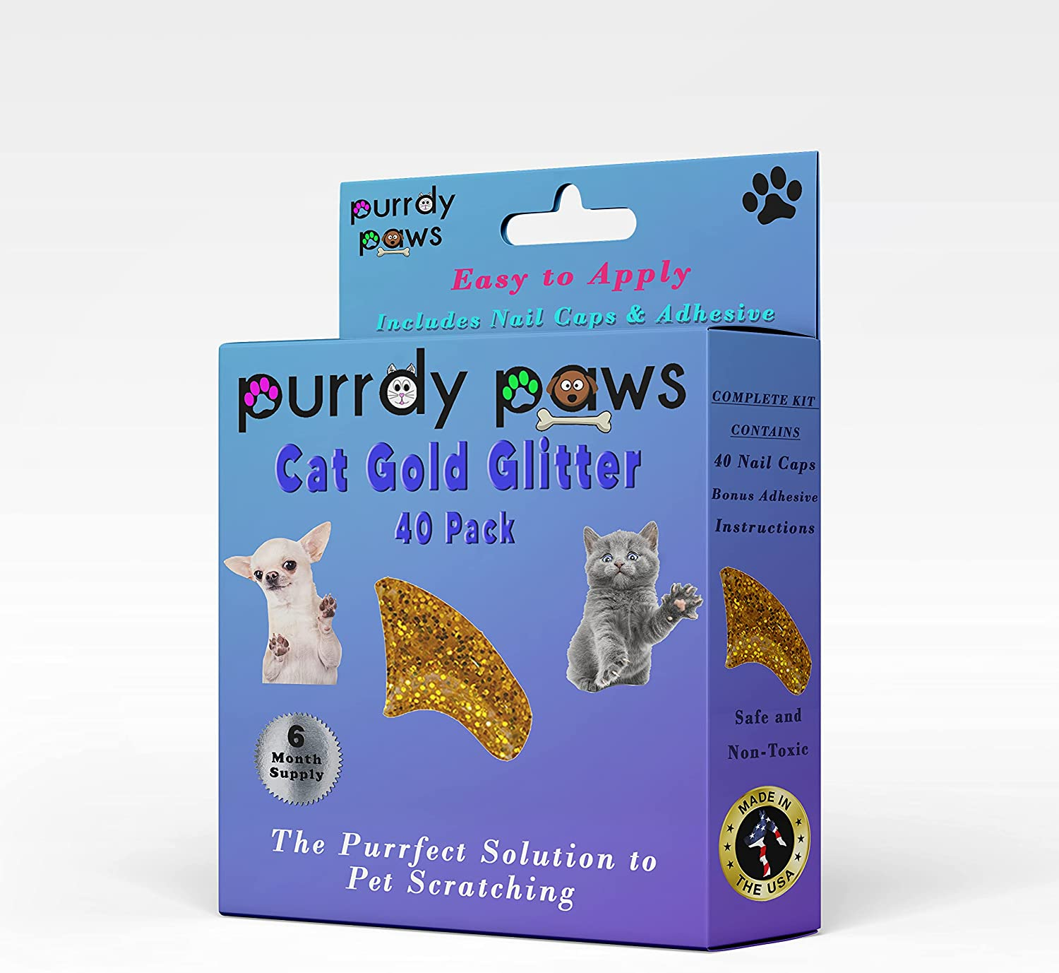 Purrdy Paws Max 78% OFF Gold Glitter Soft Nail Direct stock discount Caps for 6 - Suppl Cats Month