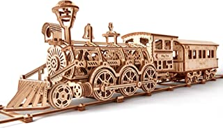 Wood Trick Wooden Toy Train Set with Railway - 34x7? - Locomotive Train Toy Mechanical Model Kit - 3D Wooden Puzzle, Brain Teaser for Adults and Kids, Best DIY Toy