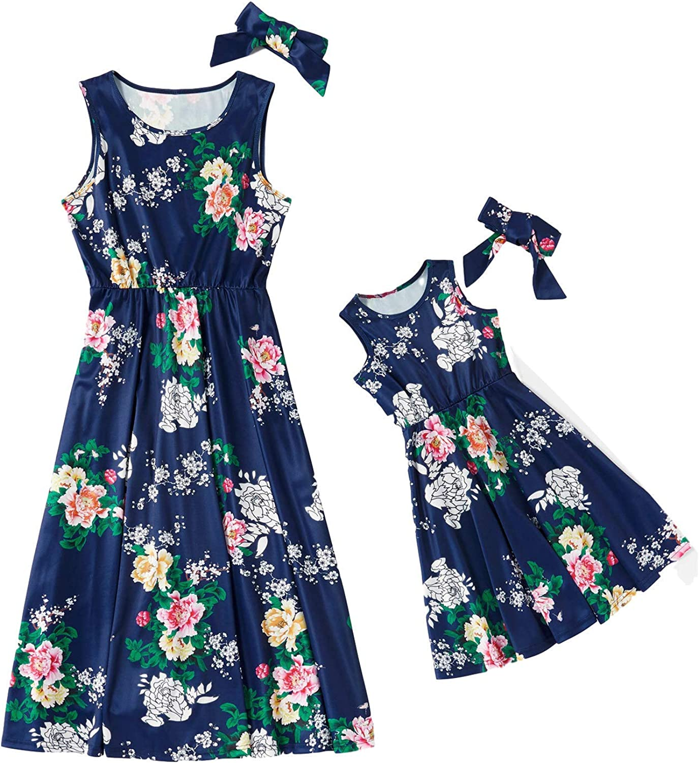 AICSOLL Mommy and Me Dress Matching Outfits Floral Printed Sleeveless Tank Casual Dress for Women Girls with Headbands