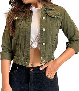 Alisha Full Sleeves Comfort Fit Regular Green Denim Turn-Down Jacket for Women