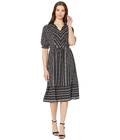CeCe Ruffle Sleeve V-Neck Print Mix Dress (Rich Black) Women