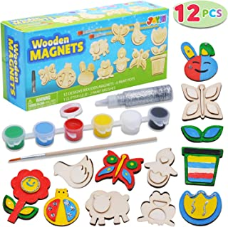 JOYIN 12 Wooden Magnet Creativity Arts & Crafts Painting Kit Decorate Your Own for Kids Paint Gift, Birthday Parties and F...