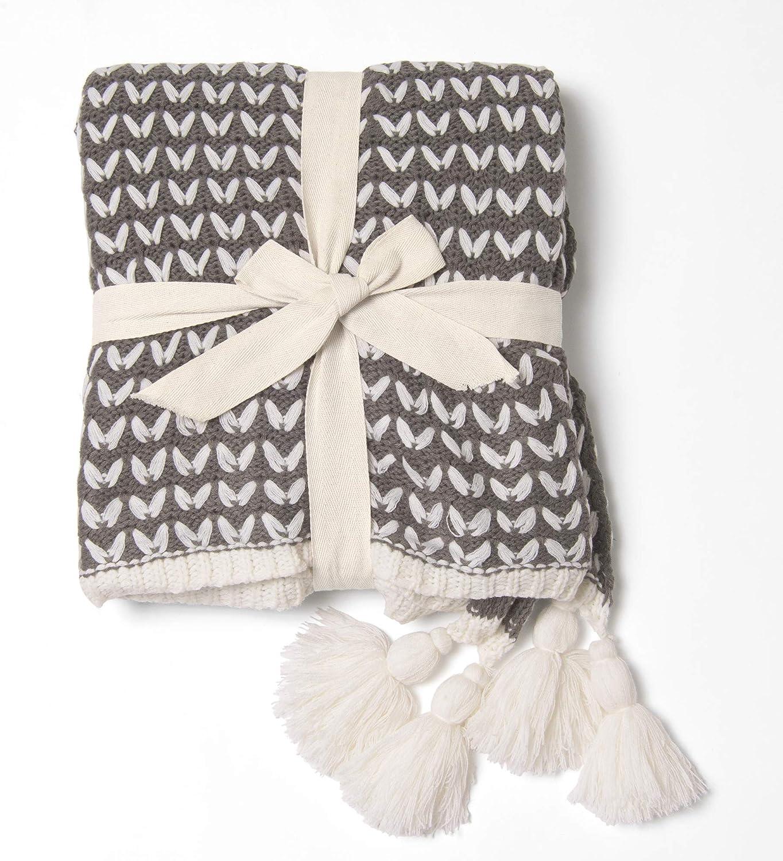 Best Home Fashion Braid Pattern Knit Tassel - San Francisco Mall Black 50