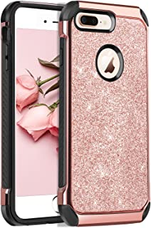 BENTOBEN iPhone 8 Plus Case, Glitter Sparkly Bling Slim 2 in 1 Hybrid Hard PC Cover Soft TPU Bumper Non-Slip Shockproof Protective Phone Case Cover for Apple iPhone 8 Plus 5.5