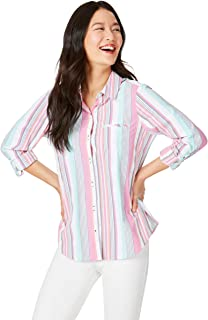 Foxcroft Women's Reese Seersucker Stripe Sun Protection UPF Shirt