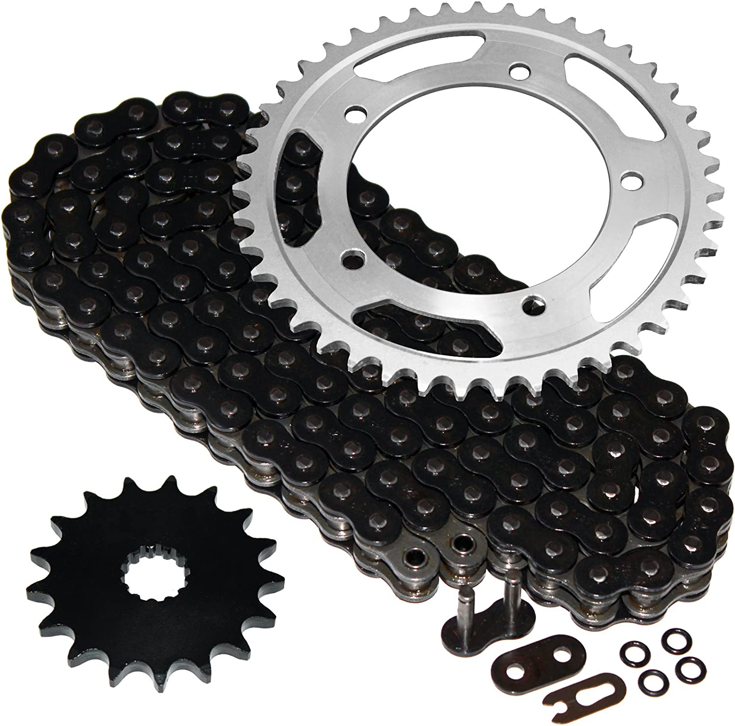 Austin Mall Caltric Black O-Ring Drive Chain with Direct sale of manufacturer Sprockets Kit Compatible