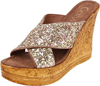 Catwalk Golden Leather Slip-on Wedges for Women's