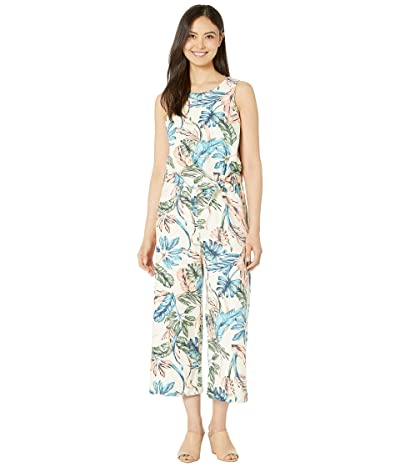 Tahari by ASL Sleeveless Knot Front Palm Leave Print Jumpsuit (Coral Palm Leaves) Women