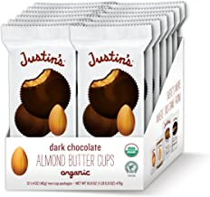 Justin's Organic Almond Butter Cups, Dark Chocolate, Rainforest Alliance Certified Cocoa, 12 Pack (2 cups each)