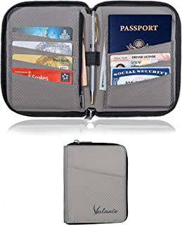Valante Pocket Size Travel Passport Wallet Ultra Light RFID Protected (Gray)