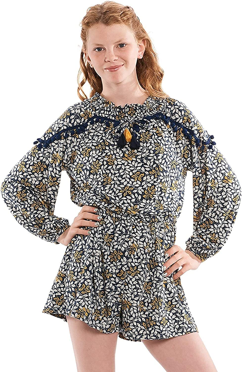 Truly Me All stores are sold Girls' Long Sleeve Woven New product Floral Size Romper Print in