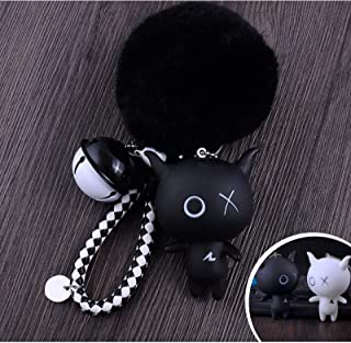 eKoi Yami Kawaii Cute Anime Little Injured Devil Figure Pom pom Fur Ball Doll Plush Keychain for Cosplay Couple Boy Girlfriend Fashion Accessory Gift (White Black)