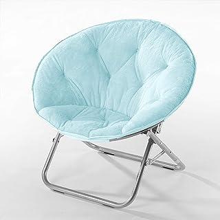 Urban Shop Super Soft Faux Fur Saucer Chair with Folding Metal Frame, Light Blue