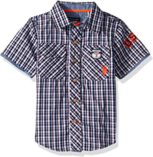 U.S. Polo Assn. Boys Short Sleeve Plaid Fashion Woven Shirt Short Sleeve Button Down Shirt - Blue