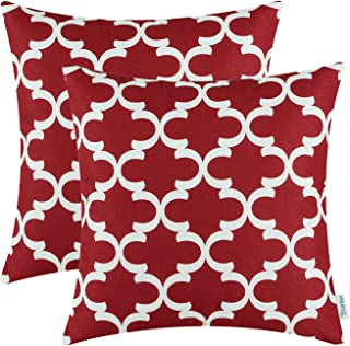 CaliTime Pack of 2 Soft Canvas Throw Pillow Covers Cases for Couch Sofa Home Decor Modern Quatrefoil Accent Geometric 18 X 18 Inches Burgundy