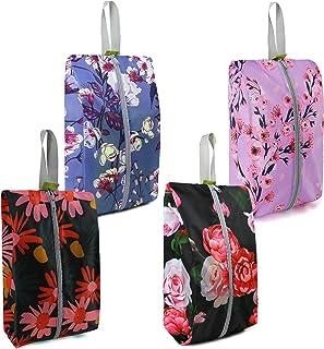 Waterproof Travel Shoe Organizer Bags 4 Pack with Zipper Ripstop Nylon Flower Design Shoe Bags for Women Men Traveling Storage Black Purple