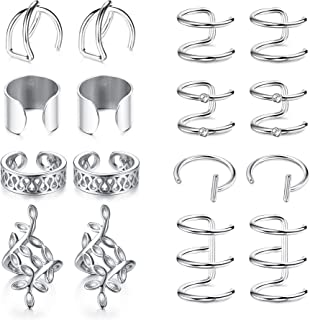 8 Pairs Stainless Steel Ear Clips Non Piercing Earrings Cartilage Ear Cuffs Set for Men Women Silver-tone Gold-tone Black