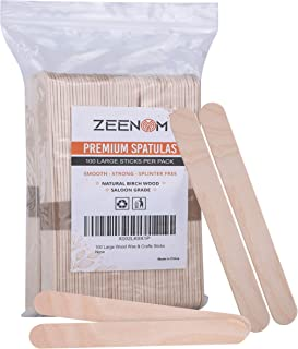Zeenom Wax Sticks 100 Pieces for Hair Removal Applicator Spatula for Hands and Feet - Jumbo Crafts Sticks for Home or Scho...