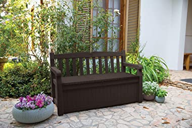 Keter Solana 70 Gallon Storage Bench Deck Box for Patio Furniture, Front Porch Decor and Outdoor Seating – Perfect to Store G
