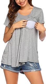 Ekouaer Women's Nursing Tops Maternity Shirts for Breastfeeding Soft Double Layer Short Sleeve Pregnancy Pajamas with Pockets