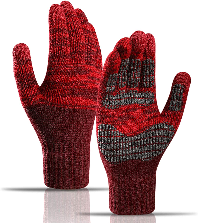 Winter Knit Gloves, Touch Screen Warm Gloves, Warm Full Cover Fleece Gloves