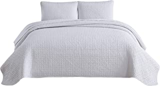 Chezmoi Collection Eli 3-Piece Geometric Octagon Garment-Dyed Stone Washed Quilt Coverlet Set (King, White)