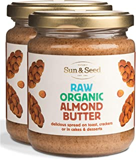 Sun and Seed – Organic Raw Almond Butter – Gluten Free and Keto Friendly – Ultra Healthy And Nutritious High Protein Spread – Made With Only Raw Organic Nuts – Stone Ground - 250g (2 Pack)
