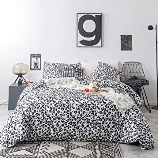 SUSYBAO 3 Piece Duvet Cover Set 100% Cotton Queen Size Black and White Leopard Pattern Bedding Set with Zipper Ties 1 Wild Animal Print Duvet Cover 2 Pillowcases Luxury Quality Soft Lightweight