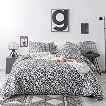 SUSYBAO 3 Piece Duvet Cover Set 100% Cotton King Size Black and White Leopard Print Bedding Set with Zipper Ties 1 Wild Animal Pattern Duvet Cover 2 Pillowcases Hotel Quality Soft Comfortable Durable