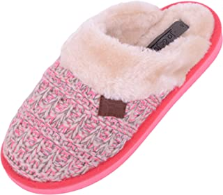 ABSOLUTE FOOTWEAR Womens Beautiful Knitted Style Slippers/Mules with Fleece Lining