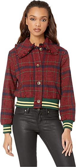 Moto Jacket with Contrast Stripe Trim