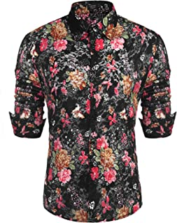 Men's Floral Dress Shirt Long Sleeve 70s Printed Casual Button Down Shirts