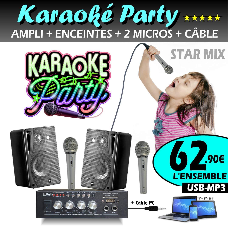 Karaoke DJ Pack 2 altavoces + amplificador USB Bluetooth + 2 ...