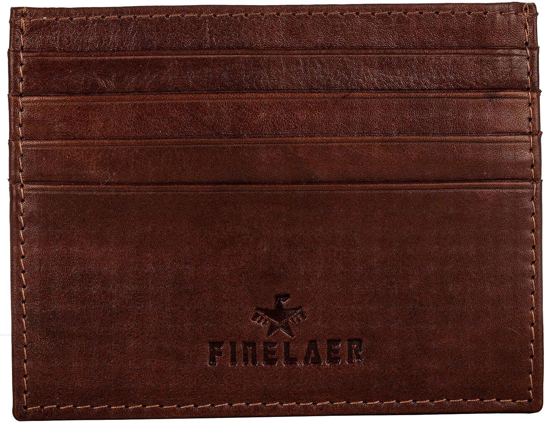 Finelaer Leather Men's Front Pocket Slim RFID Card Minimalist Wallet