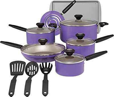 SilverStone 22037 Aluminum Nonstick Cookware Set, Large, Purple