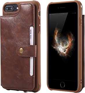 Wallet Leather Case for iPhone 6 Plus 6sp 8+ 7p Apple 5.5inches,Kickstand Protective Card Holder Magnetic Snap Wrist Strap Durable Cover Shell Girl Boy Men Women-Coffee