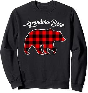GRANDMA BEAR | Red Plaid Matching Family Christmas Sweatshirt