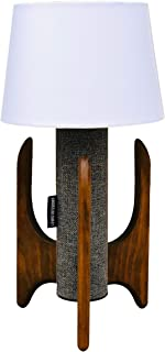 Lewis Interiors - Modern Cylinder Table Lamp - Single Lamp - Spaceage Atomic Midcentury Modern Handcrafted - Made in America - Gray Tweed and Wood