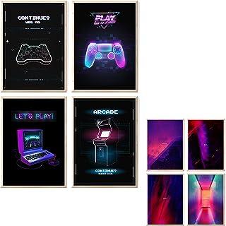myDreamwork Gaming Poster | Poster Set | OHNE Bilderrahmen | Gamer Geschenk | Zocker Geschenk | Bilderset Neon Schriftzug...