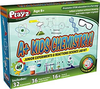 Playz STEM A+ Kids Chemistry Junior Experiments & Reactions Science Lab Kit - 32+ Experiments, 36 Page Laboratory Guide, a...