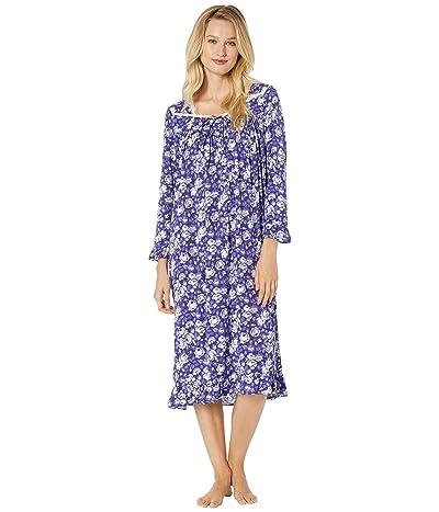 Eileen West Modal Spandex Jersey Waltz Nightgown (Violet Ground Roses) Women