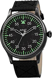 August Steiner Men's Casual Swiss Fashion Watch - Gunmetal Grey Case with Dark Dial with Green Hour Markers on Black Fabri...