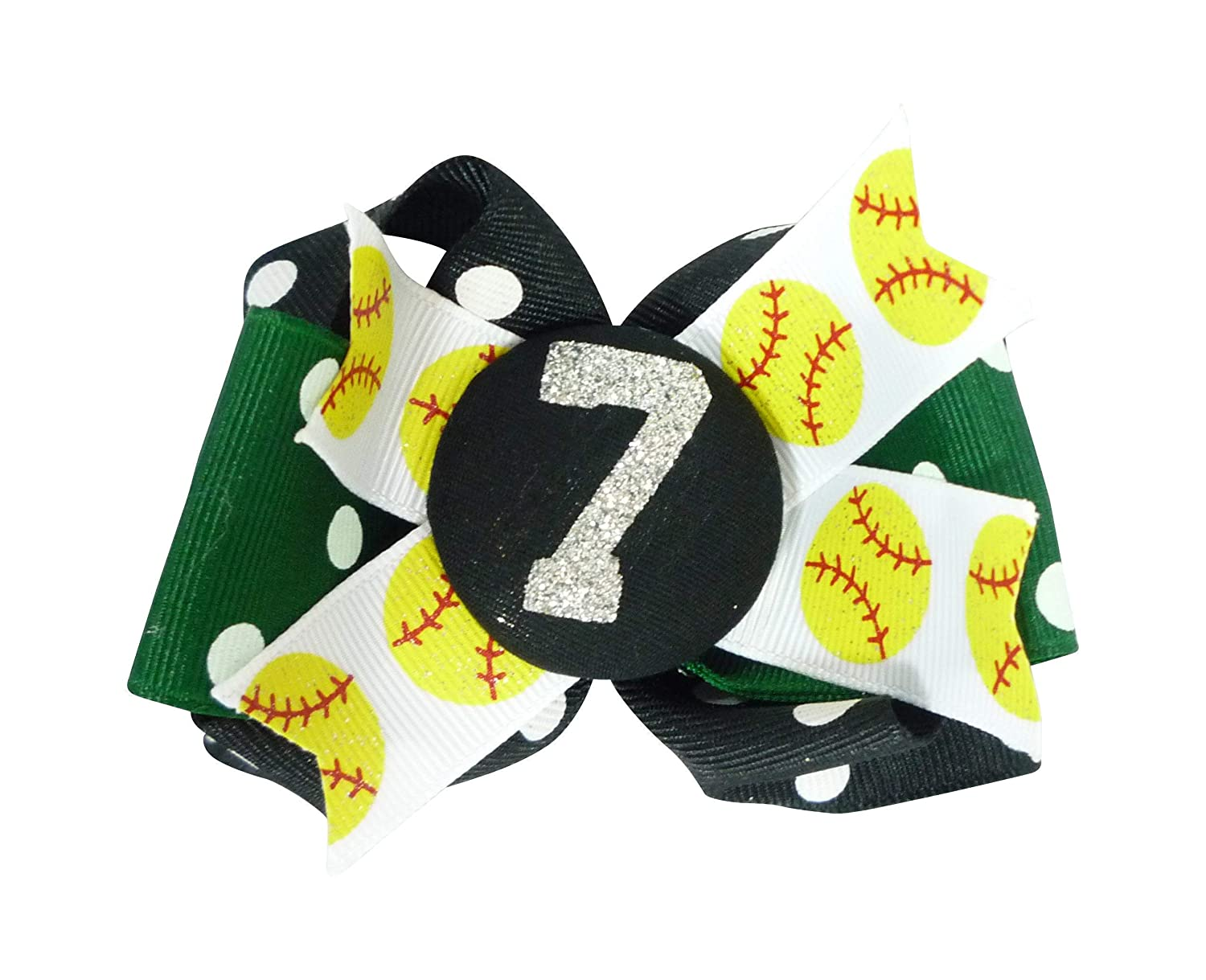 Houston Mall Softball Bow - Black Credence Polka Forest or choose t your Green own