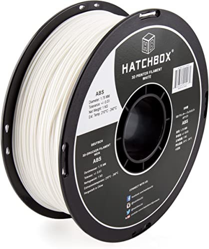 HATCHBOX ABS 3D Printer Filament, Dimensional Accuracy +/- 0.03 mm, 1 kg Spool, 1.75 mm, White, Model Number: 3D ABS-...