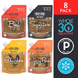 Osso Good - Bone Broth Sampler Pack, High in Protein & Collagen, Gluten Free, Paleo Certified & Whole30 Approved, Supports Gut Health (8 Pack) (Packaging May Vary)