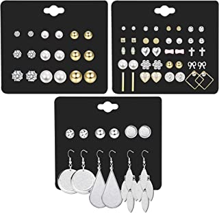 Finrezio 35 Pairs Multiple Dangle Stud Earrings for Women Girls Cute Fake Pearl Crystal Ball Piercing Earrings Set