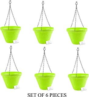 Unique Plastic Hanging Pot with Metal Chain (Green, Pack of 6)